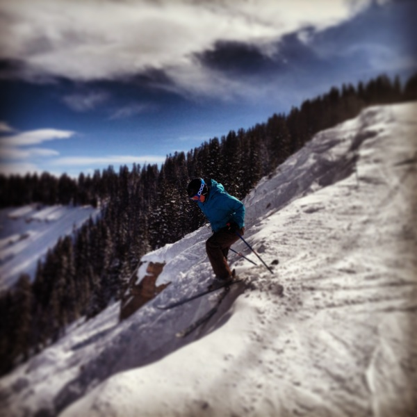 I ski with some badass chicks... dropping in to Lover's Leap in Vail.