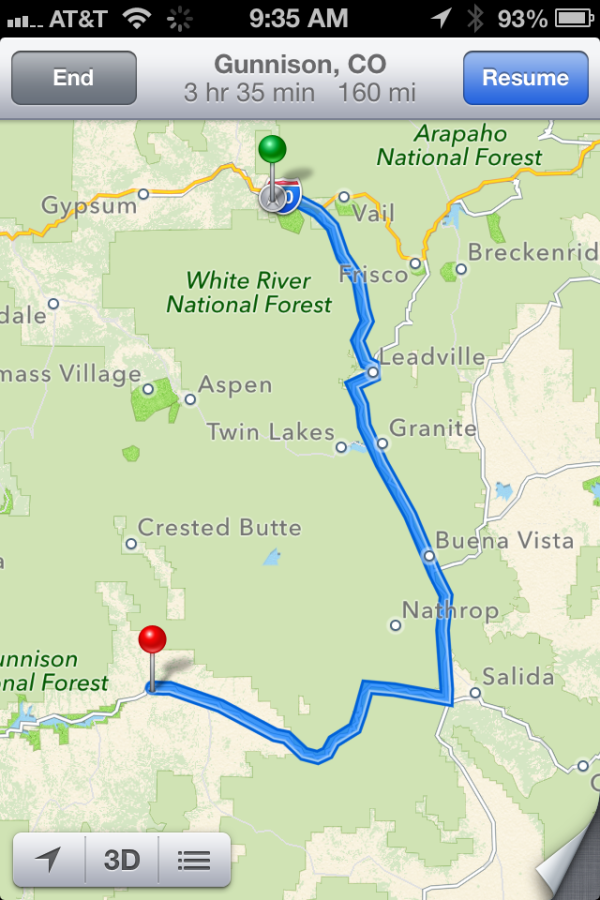 Map Edwards to Gunnison