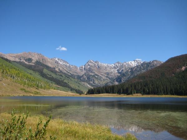 The Gore Range towering above Piney Lake.