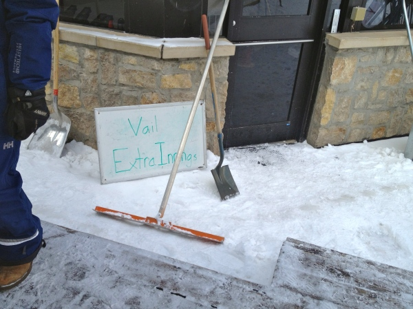 "I loved this sign that one of the lifties scrawled on a white board: ""Vail Extra Innings."""