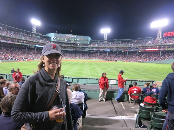 Not my best look, I'll admit, but my shawl sweater kept me cozy at a chilly Red Sox game this summer.