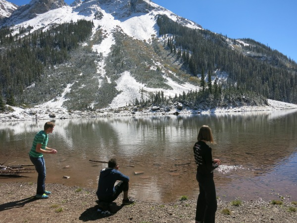 Skipping rocks on Crater Lake