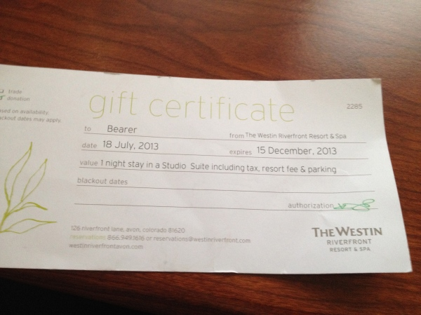 Westin Gift Certificate