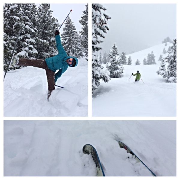 Powder day collage